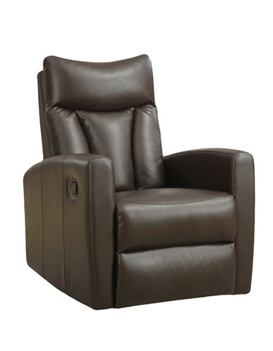 Monarch Padded Back Swivel Glider Recliner Chair-DARK BROWN-One Size