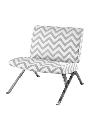 Monarch Chevron Print Accent Chair-GREY-One Size