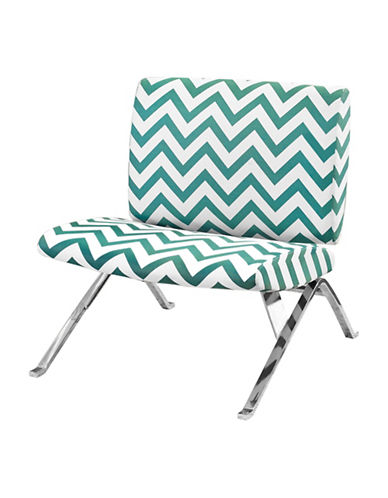 Monarch Chevron Print Accent Chair-BLUE-One Size