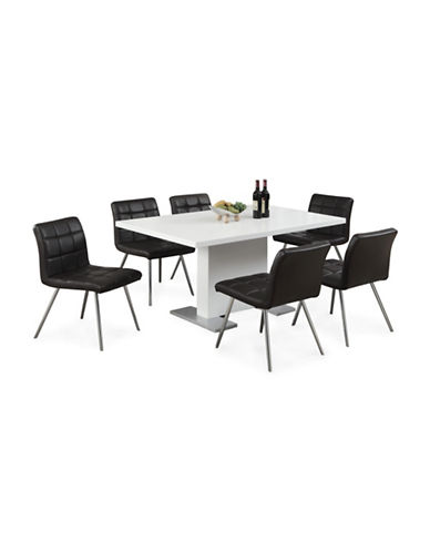 Monarch High Glossy White Dining Table-WHITE-One Size
