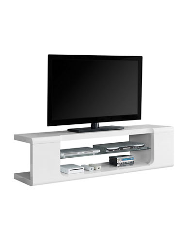 Monarch Tempered Glass TV Stand-WHITE-One Size 88225080_WHITE_One Size