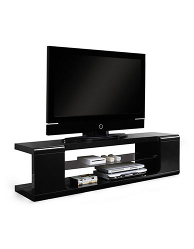Monarch Tempered Glass TV Stand-BLACK-One Size
