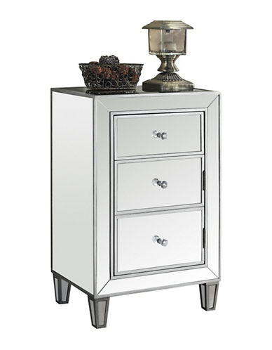 Monarch Mirrored Three-Drawer Accent Table-SILVER-One Size