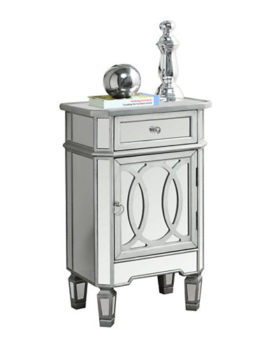 Monarch Brushed Filigree Mirror Accent Table-SILVER-One Size