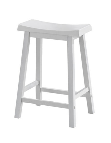 Monarch 24 Inch Saddle Seat Barstools Set of Two-WHITE-One Size