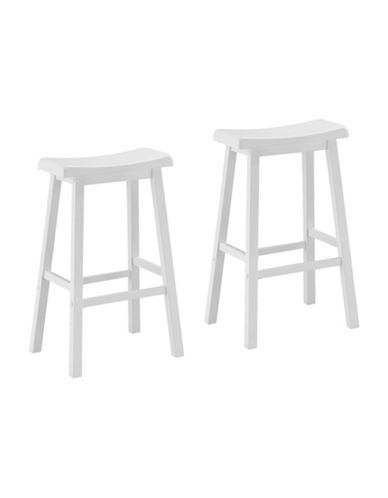 Monarch 29 Inch Saddle Seat Barstools Set of Two-WHITE-One Size