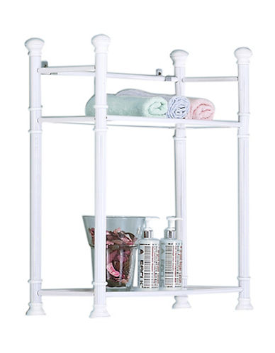 Monarch Two-Tier Glass Top Accent Shelf-WHITE-One Size
