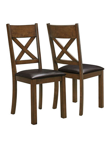 Monarch Two-Piece Cross-Back Dining Chairs-BROWN-One Size