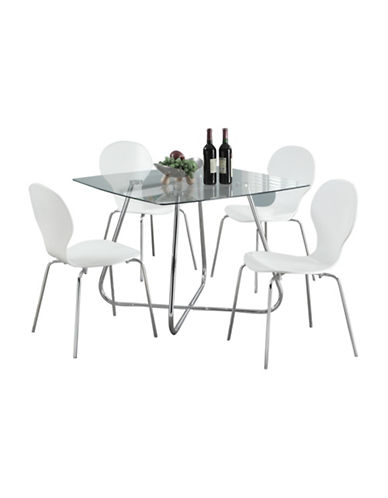 Monarch Chrome and Tempered Glass Dining Table-SILVER-One Size