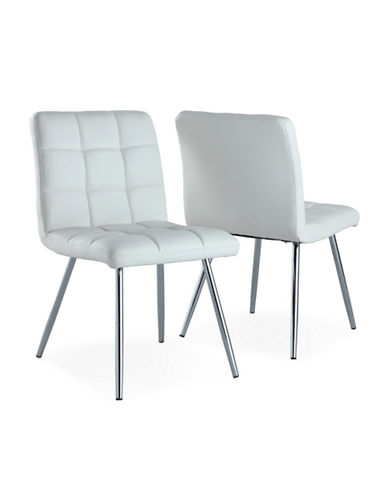 Monarch Two-Piece Leather-Look Dining Chair Set-WHITE-One Size