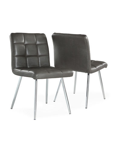 Monarch Two-Piece Leather-Look Dining Chair Set-GREY-One Size