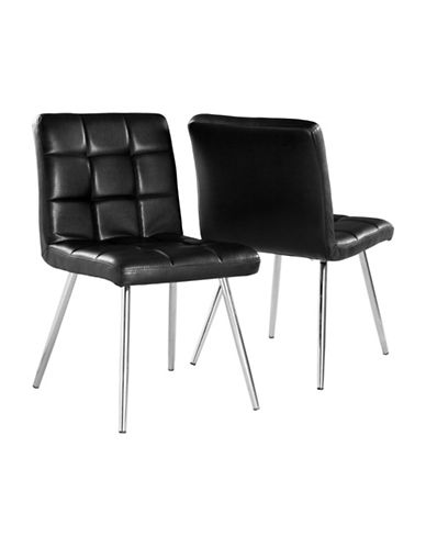 Monarch Two-Piece Leather-Look Dining Chair Set-BLACK-One Size