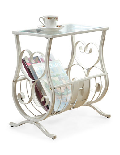 Monarch Traditional Glass Metal Accent Table-WHITE-One Size