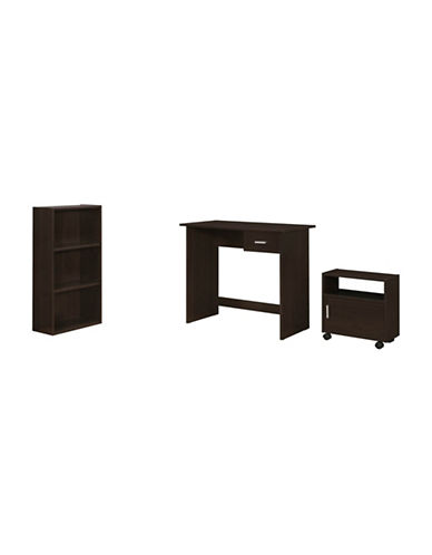 Monarch Three-Piece Desk and Storage Set-CAPPUCCINO-One Size