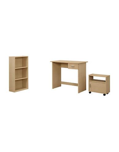 Monarch Three-Piece Desk and Storage Set-BROWN-One Size