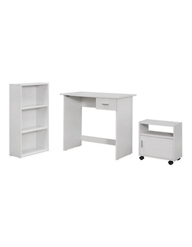 Monarch Three-Piece Computer Desk Set-WHITE-One Size
