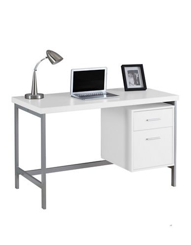 Monarch Computer Desk with File Drawer-WHITE-One Size