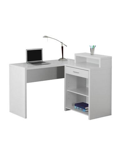 Monarch Three-Shelf Computer Desk-WHITE-One Size
