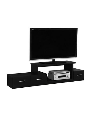Monarch Asymmetrical TV Stand-BLACK-One Size