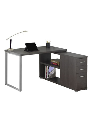 Monarch L-Shaped Computer Desk-GREY-One Size