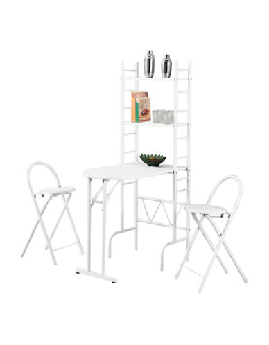 Monarch Three-Piece Dining and Shelf Unit Set-WHITE-One Size