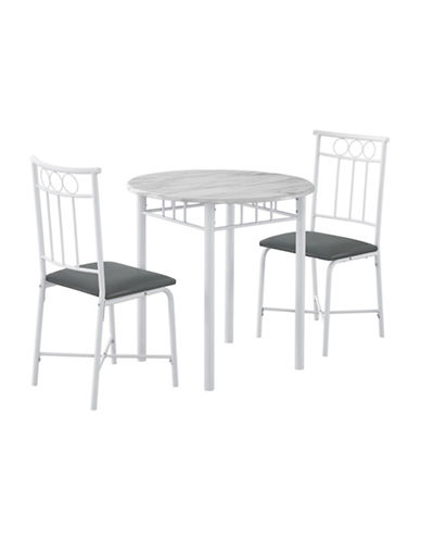 Monarch Three-Piece Marble-Look Dining Set-WHITE-One Size