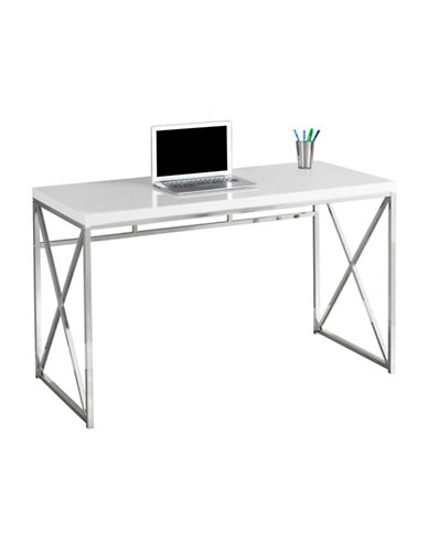 Monarch Crisscross Computer Desk-WHITE-One Size