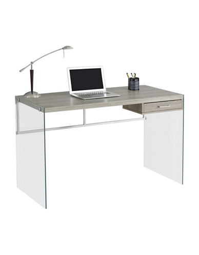 Monarch Glass Legs Computer Desk-DARK TAUPE-One Size