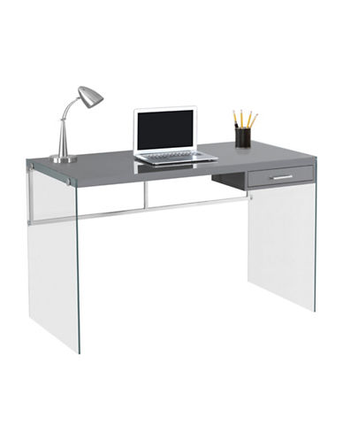 Monarch Glass Legs Computer Desk-GREY-One Size
