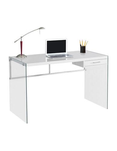 Monarch Glass Legs Computer Desk-WHITE-One Size