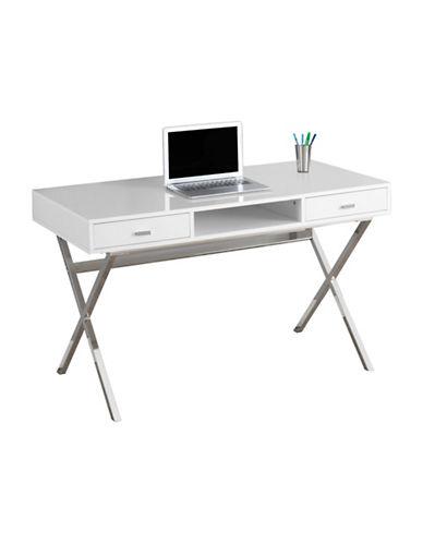 Monarch Gloss Finish Computer Desk-WHITE-One Size