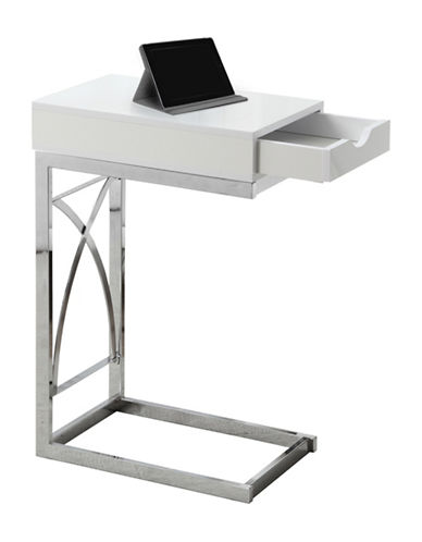 Monarch Glossy Accent and Snack Table-WHITE-One Size