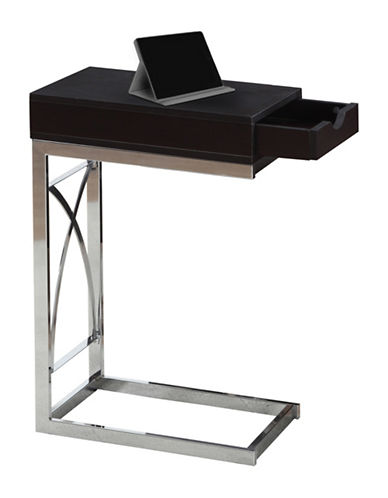 Monarch Chrome-Look Accent and Snack Table-BROWN-One Size
