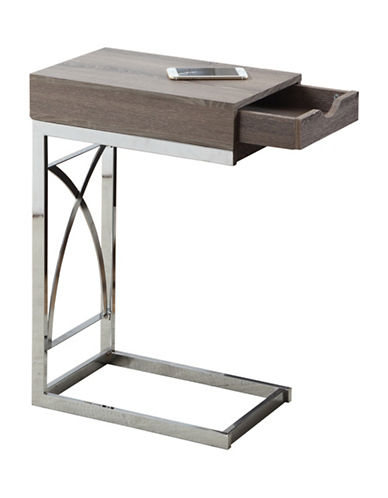 Monarch Chrome-Look Accent and Snack Table-TAUPE-One Size