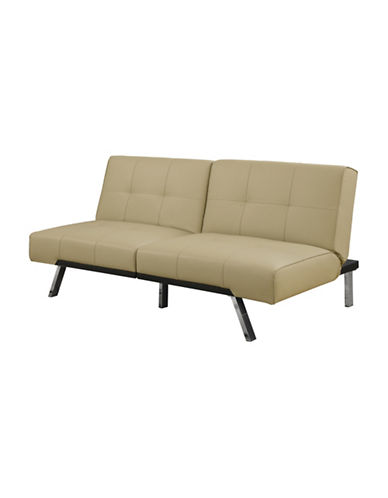 Monarch Click-Clack Tufted Leather-Look Futon