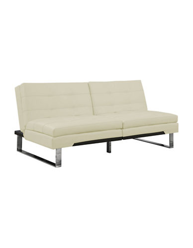 Monarch Chelsea Click-Clack Leather-Look Futon-IVORY-One Size