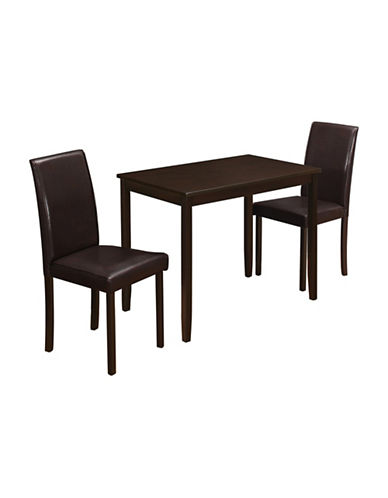 Monarch Three-Piece Table and Chair Dining Set-CAPPUCINO-One Size