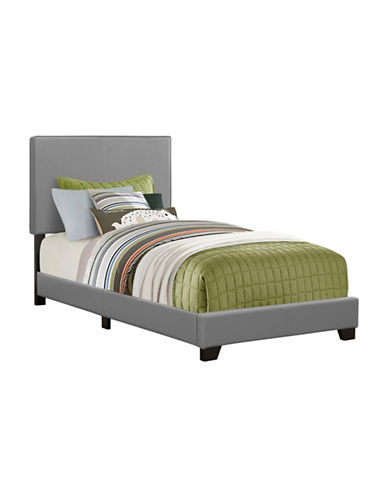 Monarch Leather-Look Bed-GREY-Twin