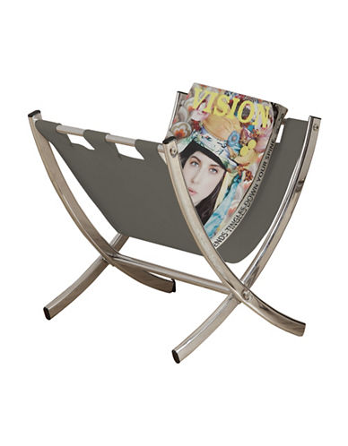 Monarch Black Leather-Look Magazine Rack-GREY-One Size