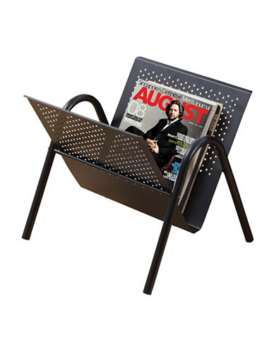 Monarch Black Perforated Metal Magazine Rack-BLACK-One Size