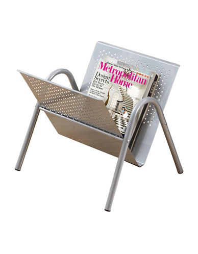Monarch Silver Perforated Metal Magazine Rack-SILVER-One Size