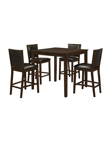 Monarch Walnut Five-Piece Dining Set-BROWN-One Size