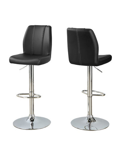 Monarch Panelled Faux-Leather Barstool Set-BLACK-One Size