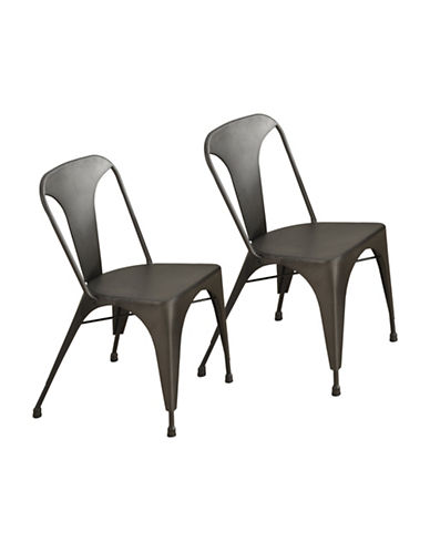 Monarch Two-Piece Bronze Metal Cafe Dining Chair Set-BROWN-One Size