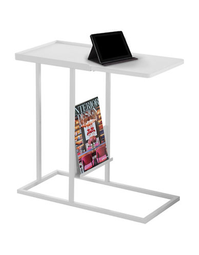 Monarch Accent Table with Magazine Rack-WHITE-One Size