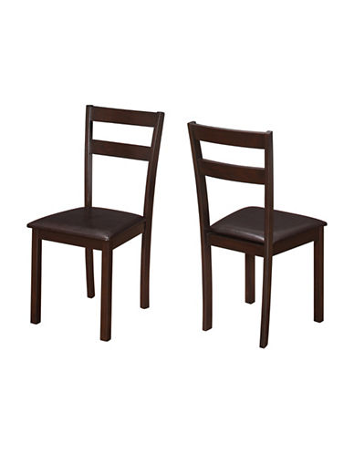Monarch Set of Two Padded Slat-Back Dining Chairs-CAPPUCINO-One Size