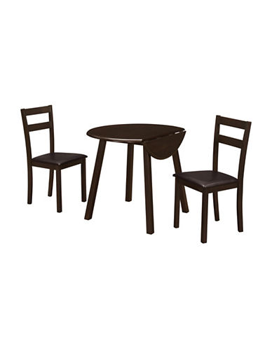 Monarch Three-Piece Drop Leaf Table and Chair Set-CAPPUCINO-One Size