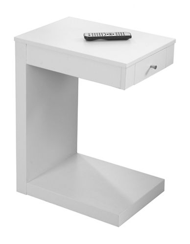 Monarch Single-Drawer Accent and Snack Table-WHITE-One Size