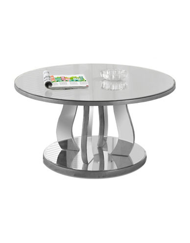 Monarch Round Mirrored Coffee Table-SILVER-One Size