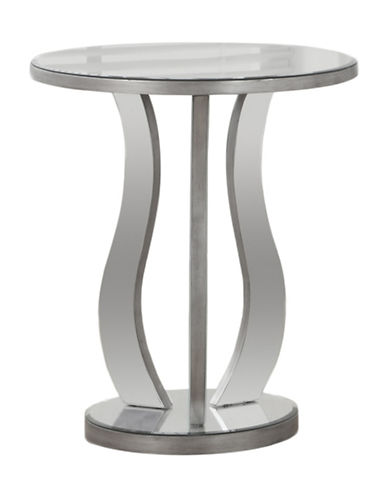 Monarch Round Mirrored End Table-SILVER-One Size